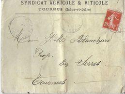 ENVELOPPE SYNDICAT AGRICOLE & VITICOLE TOURNUS 71 SAONE ET LOIRE + COURRIER 30/04/1912 RECUPERATION SULFATE DE CUIVRE - Agriculture