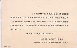 Château D'ARGENTEAU 1943 Avis De Naissance De Marie-Madeleine De HEMPTINNE Carte De Visite - Birth & Baptism
