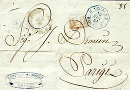 1855- Lettre De NAPOLI  - Pour Paris -entrée  D-SICILES S. E.   / MARSEILLE  Bleu - 1849-1876: Klassik