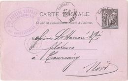Dépt 59 - GOUZEAUCOURT - Tampon Jules BARBARE-GUFFROY (teinturier ?) Signée Par Lui-même Et Voyagée En 1887 - Autres Communes