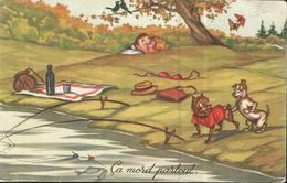 JOYEUX NOEL WEIHNACHTEN ILLUSTRATEUR 1953 CHIEN DOG  BOULDOGUE FRANCAIS BOULEDOGUE - Noël