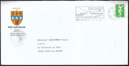 France Riec Sur Belon 1998 / Mairie / Coat Of Arms / Castle / Machine Stamp / Sailing And Leisure - Marcophilie (Lettres)