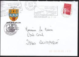 France Riec Sur Belon 1999 / Mairie / Coat Of Arms / Castle / Machine Stamp / Sailing And Leisure - Marcophilie (Lettres)