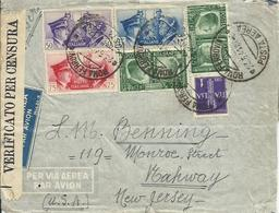 VE3Cb30-Lettera Posta Aerea Per Gli USA Con 1 Lira Vittoria + 2x 25+50+75 Cent E 1,25 Lire Asse 23.6.1941 - Poststempel