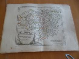Carte Atlas Vagondy 1778 Gravée Par Dussy 40 X 29cm Mouillures France Berry Franche Comté Nivernois, Bourgogne, Bresse;; - Geographical Maps