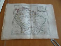 Carte Atlas Vagondy 1778 Gravée Par Dussy 40 X 29cm Mouillures Amérique Du Sud South America  Pérou Brésil Amazone - Geographical Maps