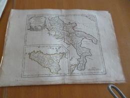 Carte Atlas Vagondy 1778 Gravée Par Dussy 40 X 29cm Mouillures Italie Italia Naples Sicile - Geographical Maps
