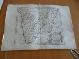 Carte Atlas Vagondy 1778 Gravée Par Dussy 40 X 29cm Mouillures Afrique Du Sud Congo Cafrerie Madagascar Réunion - Geographical Maps