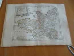 Carte Atlas Vagondy 1778 Gravée Par Dussy 40 X 29cm Mouillures France Normandie Bretagne Main Anjou Touraine Saumurois - Geographical Maps