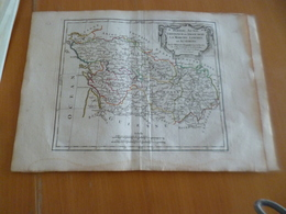 Carte Atlas Vagondy 1778 Gravée Par Dussy 40 X 29cm Mouillures France Poitou Aunis La Marche Limosin Auvergne - Geographical Maps