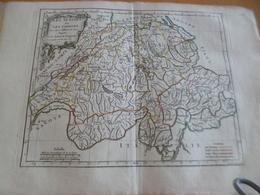 Carte Atlas Vagondy 1778 Gravée Par Dussy 40 X 29cm Mouillures Les Suisses Et Les Grisons Suisse - Geographical Maps