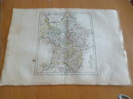 Carte Atlas Vagondy 1778 Gravée Par Dussy 40 X 29cm Mouillures France Haut Et Bas Rhin Franconie Souabe - Geographical Maps