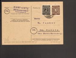 Alli.Bes.2 U.10 Pfg.Ziffer A. Fernpostkarte  Aus Hannover-Linden 1947m.Alt-Einkreis-Gitterstegstempel - Zone AAS