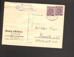 Alli.Bes.2 X 6 Pfg.Ziffer (Farbe!) A.Fernpostkarte 1947 M.Landpoststempel V.Dassensen ü.Kreiensen - Zone AAS