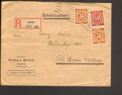 Alli.Bes 2 X 24 U.60 Pfg.Ziffer A.Einschreibebrief 1946 Apolda Einkreis-Stegstempel Not-R-Zettel V.1910 Ankunftstempel - Gemeinschaftsausgaben