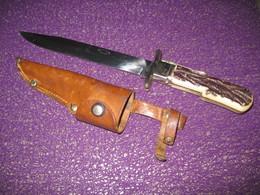 Couteau De Chasse  BEGON  Thiers  à La D'Estaing,Avec Son étui Cuir - Armes Blanches