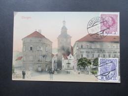 Österreich 1910 AK Karlsbad Elbogen. Bildseitig Frankiert. Stempel R1 Marken Umseitig! Drucksache Nach Dänemark! - 1850-1918 Imperium
