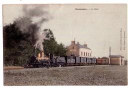 1805 - Ecommoy ( 72 ) - La Gare - Ph. Coul. Bouveret , éd. Longuet - - Ecommoy
