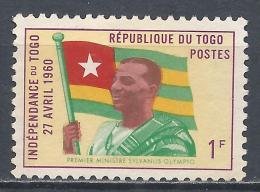 Togo 1960. Scott #378 (M) Prime Minister Sylvanus Olympio And Flag * - Togo (1960-...)