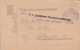 Feldpostkorrespondenzkarte K.k. Landsturm Eisenbahnsicherungs Kompagnie Opcina -  Feldpost 195/IV - 1917 (35292) - Briefe U. Dokumente