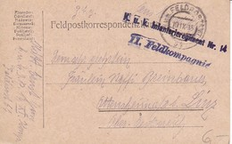 Feldpostkorrespondenzkarte K.u.k. Infanterieregiment Nr. 14 - Feldpost 64 - 1915 (35295) - Briefe U. Dokumente