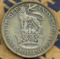GREAT BRITAIN 1 SHILLING SHIELDS FRONT KGV HEAD BACK 1932 KM?  F+ AG SILVER READ DESCRIPTION CAREFULLY!!! - 1902-1971 : Monete Post-Vittoriane