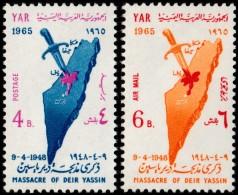 ~~~ Yemen 1965 - Palestina Massacre - Mi. 421/422 ** MNH OG  ~~~ - Yemen