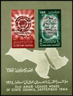 ~~~ Yemen 1966 - Arab Summit Conference - Mi. Block  45 B IMPERF  ** MNH OG ~~~ - Yemen