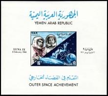 ~~~ Yemen 1966 - Space Luna IX Overprint - Mi. Block  49 B IMPERF  ** MNH OG ~~~ - Yemen
