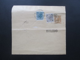 Österreich Um 1905 Großes Streifband Mit 2 Zusatzfrankaturen! Karlsbad. Ortsverkehr - Briefe U. Dokumente