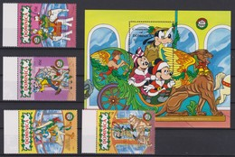 2156  WALT DISNEY - Commonwealth Of DOMINICA (Christmas 1990 ) Disney Characters Overlapping Fairground Carousel Animals - Disney