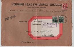 TP 74 S/Devant De Lettre Papiers D'affaires Réutilisée Par TP Oc 2(2) C.La Louvière Censure Mons  V.BXL AP2082 - Guerre 14-18