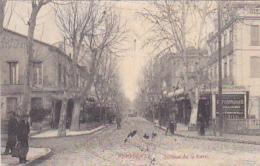 """Perpignan - Avenue De La Gare (Publicité """"Demandez L'Absinthe Nouvelle"""" Rails Tramways - Circulé 1909 - Perpignan"""