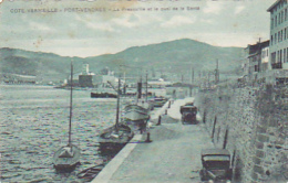 Cote Vermeille - Port Vendres - La Presqu'ile Et Le Quai De La Santé (automobiles, Bâteau De Pêche - Circ 1950, Timbre A - Port Vendres