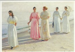 Painting : A Beach Promenade. Michael Ancher. Skagen Museum. Denmark   # 07744 - Paintings