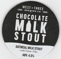 WEST BY THREE BREWING CO (SWANSEA, WALES) - CHOCOLATE MILK STOUT - KEG CLIP FRONT - Signs