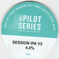WEST BY THREE BREWING CO (SWANSEA, WALES) - SESSION IPA V2 - KEG CLIP FRONT - Uithangborden