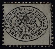 Stato Pontificio: Stemma Tiara E Chiavi / Valore In Centesimi - 3 C. Grigio - 1868 - Etats Pontificaux
