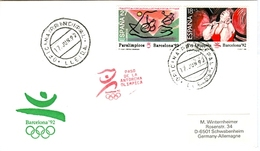 SPAIN Olympic Cover With Olympic Stamps And Torchrelay Cancel Lleida 17 Jun 92 With Red Torch Cancel - Summer 1992: Barcelona