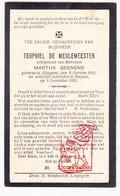 DP Teophiel De Meulemeester ° Elsegem Wortegem-Petegem 1901 † Huise Zingem 1928 X M. Geenens - Devotion Images