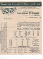 G-8 Lettre En-tête Manufacture Lyonnaise Sachets En Tissus Ets GROSJEAN FOUGERAT Lyon - 1900 – 1949