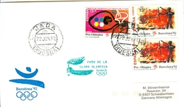 SPAIN Olympic Cover With Olympic Stamps And Torchrelay Cancel Jaca 22 Jun 92 With Green Torch Cancel - Summer 1992: Barcelona