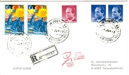SPAIN Registered Cover With Olympic Stamps And Torchrelay Cancel Logrono 25 Jun 92 With Red Torch Cancel - Summer 1992: Barcelona