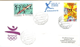 SPAIN Olympic Cover With Olympic Stamps And Torchrelay Cancel Mollet Des Valles 25 Jun 92 With Blue Torch Cancel - Summer 1992: Barcelona