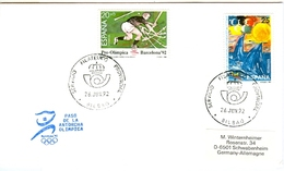 SPAIN Cover With Olympic Stamps And Torchrelay Cancel Bilbao 26 Jun 92 With Blue Torch Cancel - Summer 1992: Barcelona