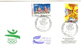 SPAIN Olympic Cover With Olympic Stamps And Torchrelay Cancel Santander 27 Jun 92 With Violet Torch Cancel - Summer 1992: Barcelona