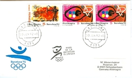 SPAIN Olympic Cover With Olympic Stamps And Torchrelay Cancel La Coruna 30 Jun 92 With Black Torch Cancel - Summer 1992: Barcelona