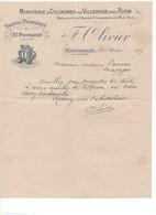 G-6 Lettre En-tête Minoterie à Cylindres De Villrose Près Riom Farine St Pourçain F. OLIVIER Avec Sa Signature 1917 - 1900 – 1949