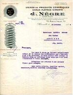 13.MARSEILLE.USINES DE PRODUITS CERAMIQUES.CHAUX.PLATRES.CIMENTS.J.NEGRE FABRICANT 73 RUE D'ITALIE. - France