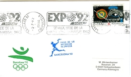 SPAIN Olympic Cover With Olympic Stamp And Torchrelay Cancel Santiago De Compostela 2 Jul 92 With Bleu Torch Cancel - Summer 1992: Barcelona